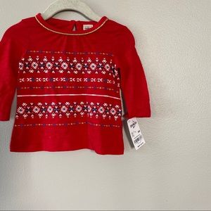 3-6m Red Holiday Shirt, Long Sleeve